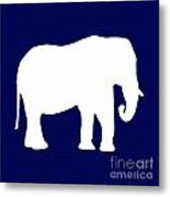 Elephant In Navy And White Metal Print