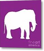 Elephant In Purple And White Metal Print