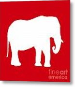Elephant In Red And White Metal Print