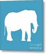 Elephant In White And Turquoise Metal Print