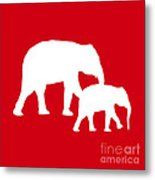 Elephants In Red And White Metal Print