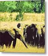 Elephants Metal Print