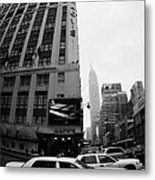 Empire State Building Shrouded In Mist As Yellow Cabs Crossing Crosswalk On 7th Ave And 34th Street Metal Print
