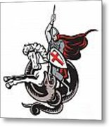 English Knight Fighting Dragon England Flag Shield Retro Metal Print