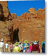Entering Mile-long And 600 Foot High Gorge Leading To Treasury In Petra-jordan  Metal Print