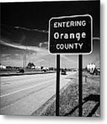 Entering Orange County On The Us 192 Highway Near Orlando Florida Usa Metal Print