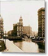 Erie Canal On Salina Street In Syracuse New York - Circa 1904 Metal Print
