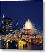 Evening At Buckingham Fountain - Chicago Metal Print
