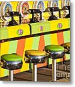 Evergreen State Fair Midway Game With Coloful Stools And Squirt  Metal Print