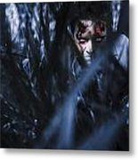 Evil Man Hiding In Silence At Dark Forest  Metal Print