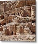facade street in Nabataean ancient town Petra Metal Print by Juergen Ritterbach