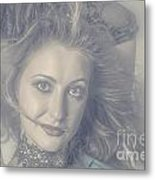 Face Of Beautiful Woman In Makeup Close-up Metal Print