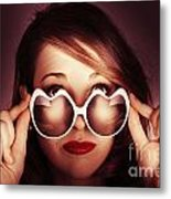 Face Of Cool Fashion Woman In Retro Summer Love Metal Print