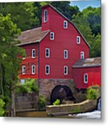 Faded Red Water Mill On The Dam Of The Raritan River Metal Print