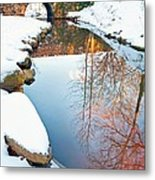 Falls Park In Snow Metal Print