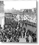 Fans Leaving Yankee Stadium. Metal Print