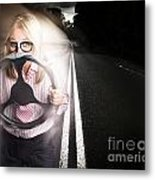 Fast Business Woman Driving Car With Light Trails Metal Print