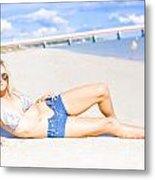 Female Vacationer Relaxing At Tropical Paradise Metal Print