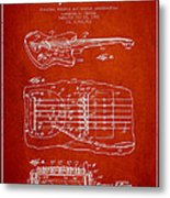 Fender Floating Tremolo Patent Drawing From 1961 - Red Metal Print