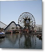 Ferris Wheel And Roller Coaster - Paradise Pier - Disney California Adventure - Anaheim California - Metal Print by Wingsdomain Art and Photography