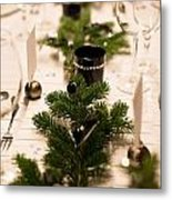 Festive Xmas Table Metal Print