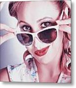 Fifties Glamor Girl Wearing Retro Pin-up Fashion Metal Print