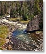 Fin On The Firehole Metal Print