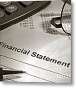 Financial Statement On My Desk Metal Print