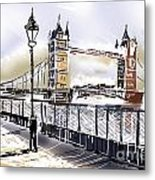 Fine Art Drawing The Tower Bridge In London Uk Metal Print