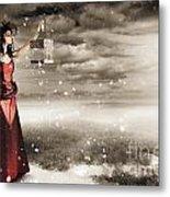 Fine Art Photo Of A Beautiful Winter Fashion Woman Metal Print