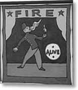 Fire Eater In Black And White Metal Print