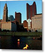 Fire On The River Metal Print
