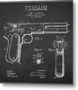 Firearm Patent Drawing From 1897 - Dark Metal Print by Aged Pixel