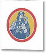 Fireman Firefighter Holding Fire Hose Retro Metal Print