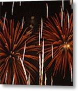 Fireworks At The Albuquerque Hot Air Metal Print