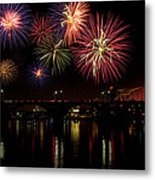 Fireworks Over The Broadway Bridge Metal Print by Robert Camp
