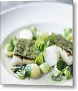 Fish Fillet With Herb Topping And Vegetables Metal Print