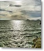 Fisherman On The Cliff At Sunset Metal Print