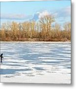 Fisherman On The Frozen River Metal Print