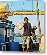 Fisherman With A Skate On Thu Bon River In Hoi An-vietnam  Metal Print