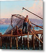 Fishermen Bringing In The Catch Metal Print