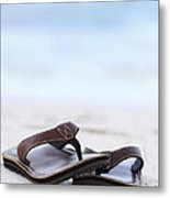Flip-flops On Beach Metal Print