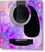 Floral Abstract Guitar 17 Metal Print