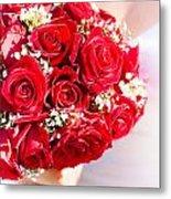 Floral Rose Boquet Held By Bride Metal Print