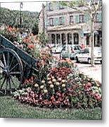 Flower Cart In Sisteron France Metal Print