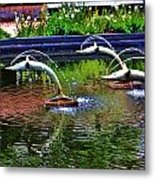 Flying Dolphins Metal Print