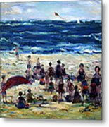Flying A Kite At The Beach Metal Print