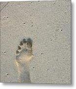 Footprint In Sand On Beach Metal Print by Sami Sarkis