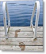 Footprints On Dock At Summer Lake Metal Print