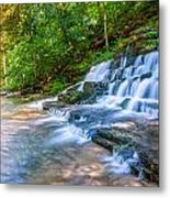 Forest Stream And Waterfall Metal Print